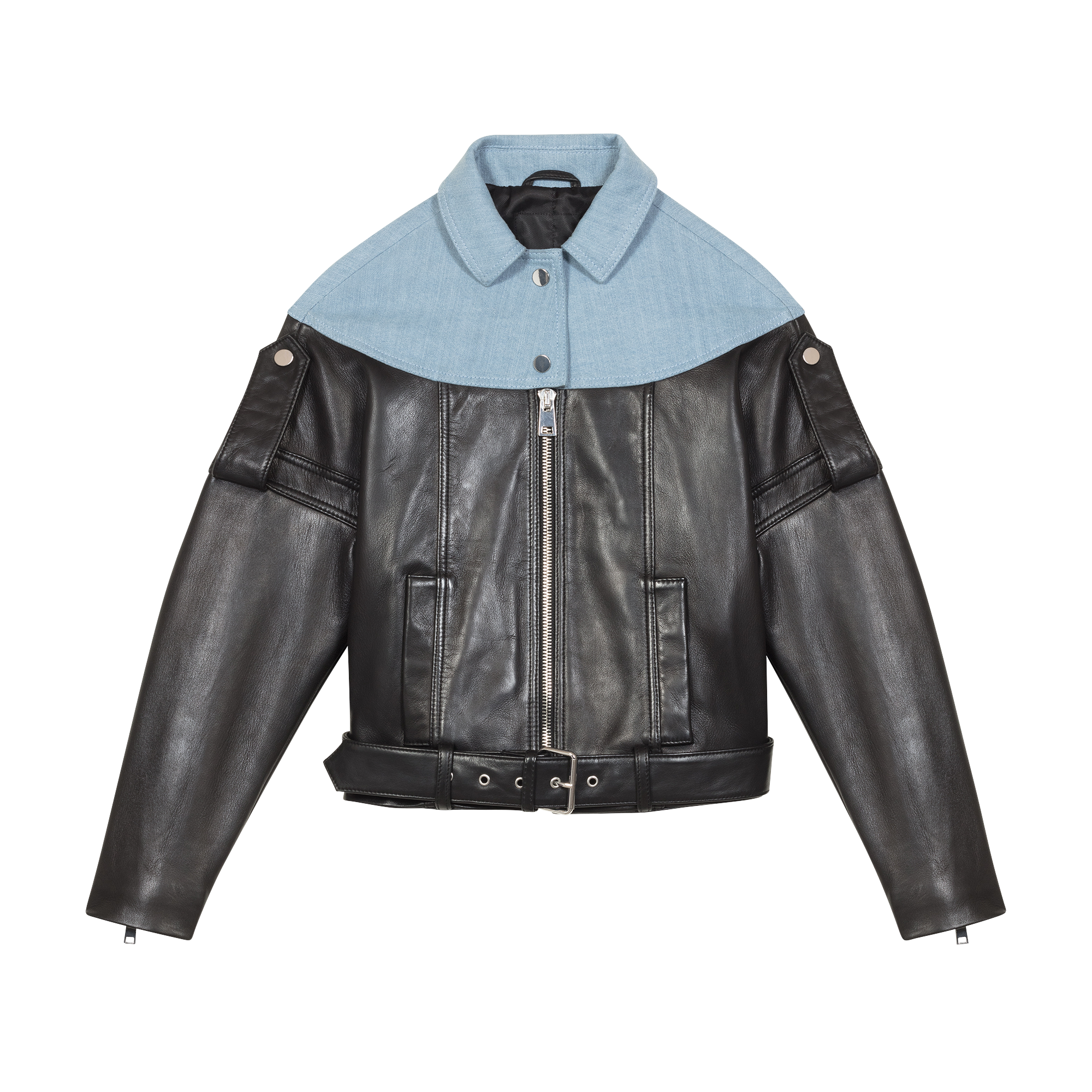 Leather and denim jacket - Coats & Jackets - MAJE
